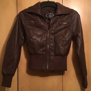 Brown leather jacket by Ambiance